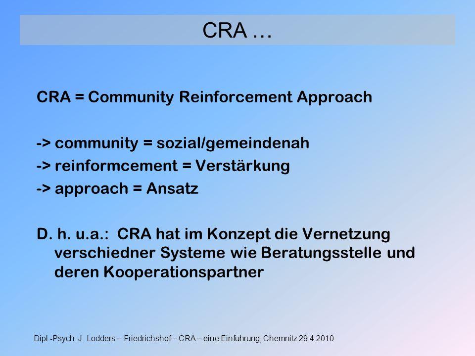 CRA = Community Reinforcement Approach -> community = sozial/gemeindenah -> reinformcement = Verstärkung -> approach = Ansatz D. h. u.a.: CRA hat im K