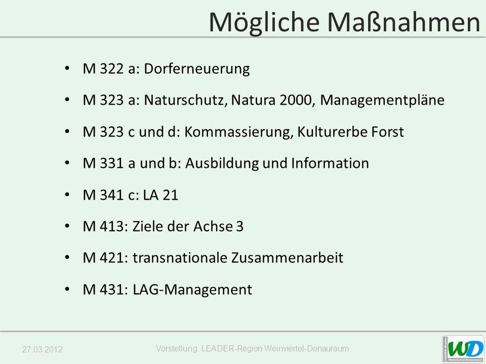 27.03.2012 Vorstellung LEADER-Region Weinviertel-Donauraum Mögliche Maßnahmen M 322 a: Dorferneuerung M 323 a: Naturschutz, Natura 2000, Managementplä