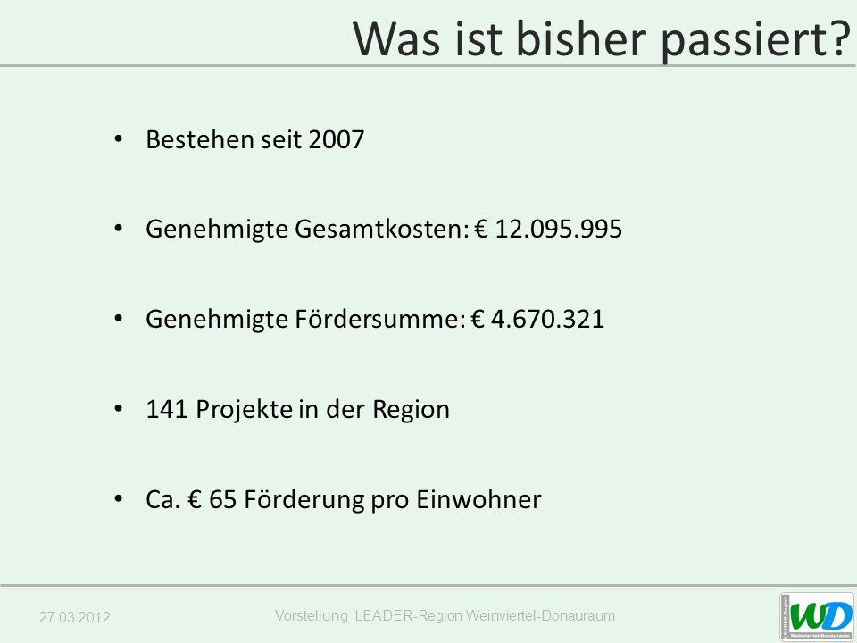 27.03.2012 Vorstellung LEADER-Region Weinviertel-Donauraum Bestehen seit 2007 Genehmigte Gesamtkosten: 12.095.995 Genehmigte Fördersumme: 4.670.321 141 Projekte in der Region Ca.