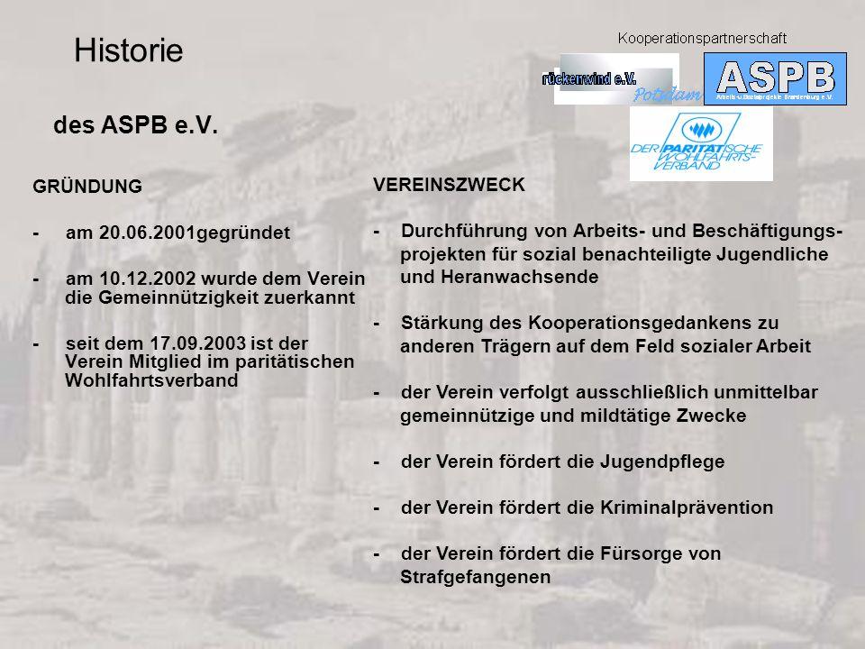 des ASPB e.V. GRÜNDUNG - am 20.06.2001gegründet - am 10.12.2002 wurde dem Verein die Gemeinnützigkeit zuerkannt - seit dem 17.09.2003 ist der Verein M