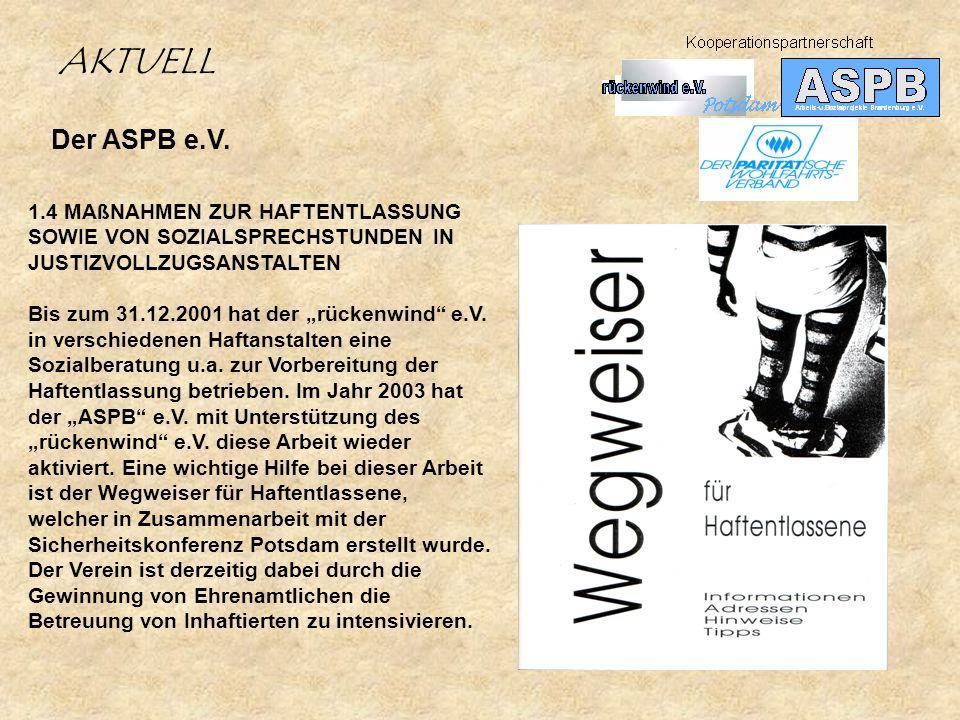Der ASPB e.V. 1.4 MAßNAHMEN ZUR HAFTENTLASSUNG SOWIE VON SOZIALSPRECHSTUNDEN IN JUSTIZVOLLZUGSANSTALTEN Bis zum 31.12.2001 hat der rückenwind e.V. in