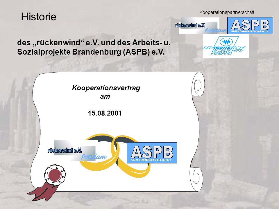 Kooperationspartnerschaft Kooperationsvertrag am 15.08.2001 Historie des rückenwind e.V. und des Arbeits- u. Sozialprojekte Brandenburg (ASPB) e.V.