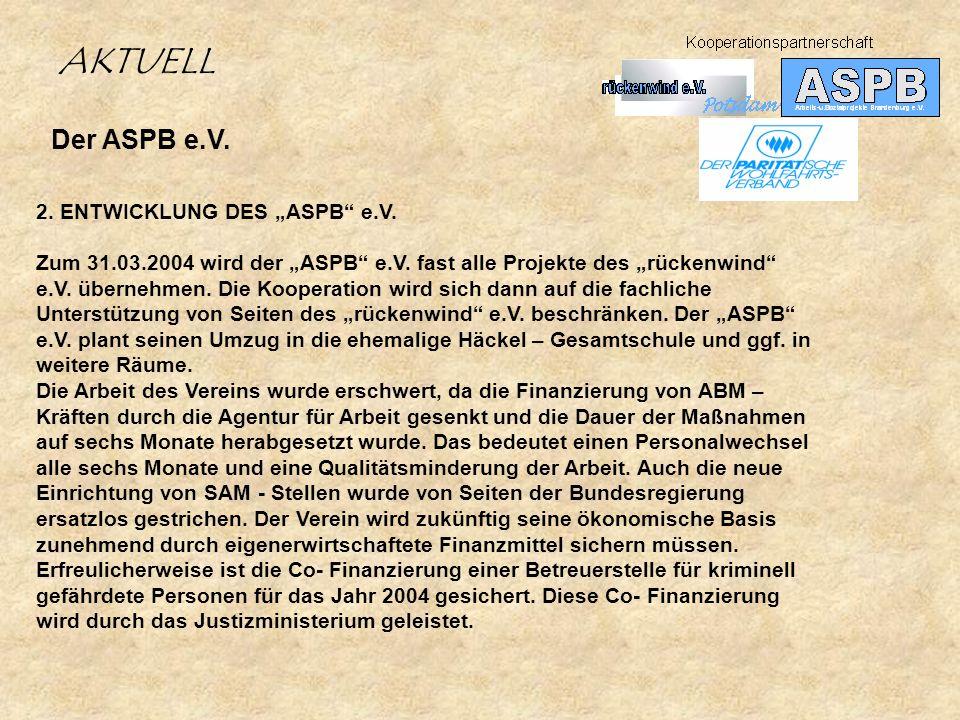 Der ASPB e.V. 2. ENTWICKLUNG DES ASPB e.V. Zum 31.03.2004 wird der ASPB e.V. fast alle Projekte des rückenwind e.V. übernehmen. Die Kooperation wird s