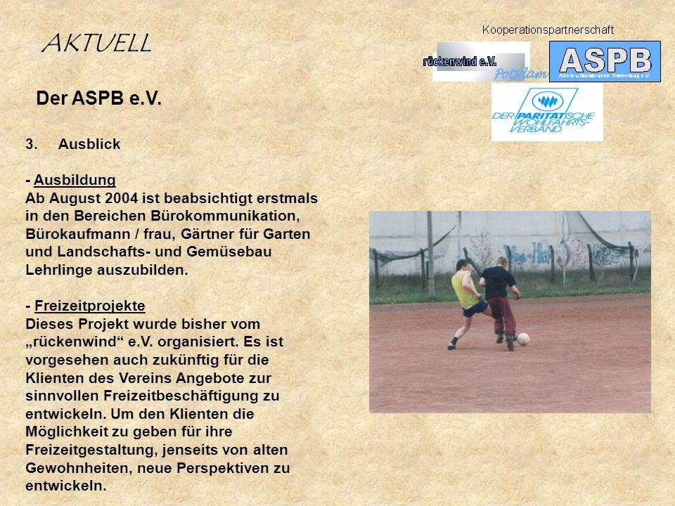 Der ASPB e.V. 3. Ausblick - Ausbildung Ab August 2004 ist beabsichtigt erstmals in den Bereichen Bürokommunikation, Bürokaufmann / frau, Gärtner für G