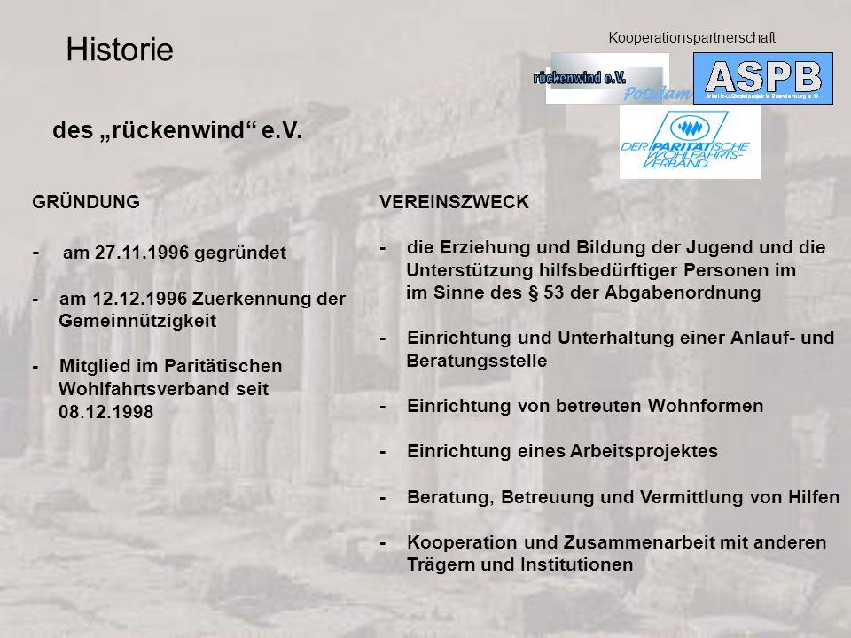 GRÜNDUNG - am 27.11.1996 gegründet - am 12.12.1996 Zuerkennung der Gemeinnützigkeit - Mitglied im Paritätischen Wohlfahrtsverband seit 08.12.1998 Historie des rückenwind e.V.