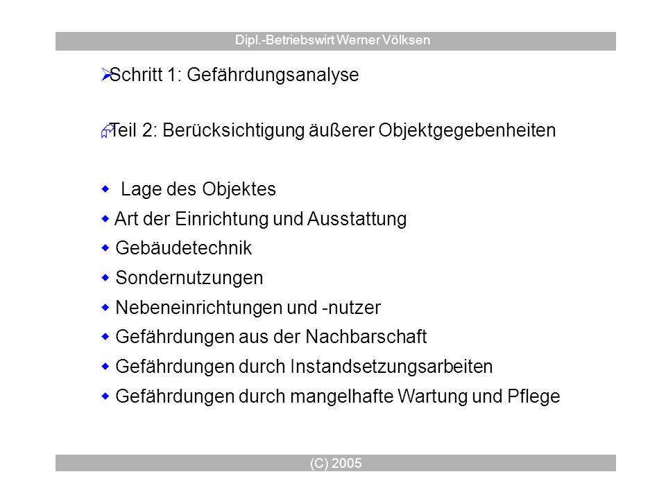 (C) 2005 Dipl.-Betriebswirt Werner Völksen Schritt 1: Gefährdungsanalyse Teil 2: Berücksichtigung äußerer Objektgegebenheiten Lage des Objektes Art de