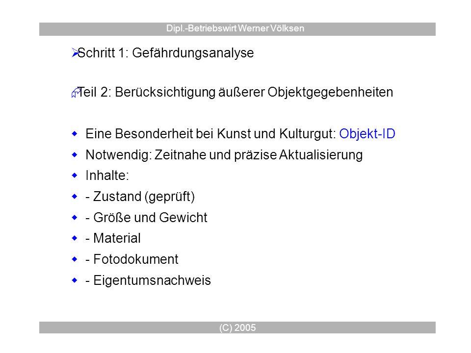 (C) 2005 Dipl.-Betriebswirt Werner Völksen Schritt 1: Gefährdungsanalyse Teil 2: Berücksichtigung äußerer Objektgegebenheiten Eine Besonderheit bei Ku