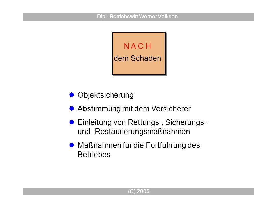 (C) 2005 Dipl.-Betriebswirt Werner Völksen N A C H dem Schaden N A C H dem Schaden Objektsicherung Abstimmung mit dem Versicherer Einleitung von Rettu