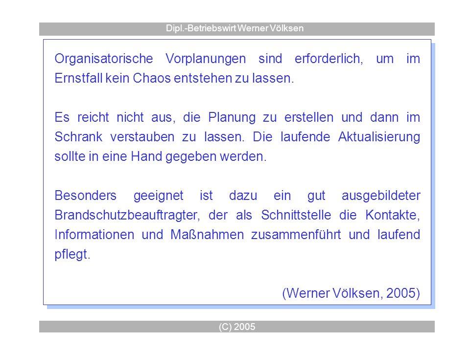 (C) 2005 Dipl.-Betriebswirt Werner Völksen Organisatorische Vorplanungen sind erforderlich, um im Ernstfall kein Chaos entstehen zu lassen. Es reicht