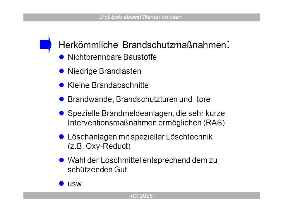 (C) 2005 Dipl.-Betriebswirt Werner Völksen Herkömmliche Brandschutzmaßnahmen : Nichtbrennbare Baustoffe Niedrige Brandlasten Kleine Brandabschnitte Br