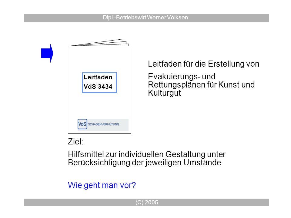 (C) 2005 Dipl.-Betriebswirt Werner Völksen Leitfaden VdS 3434 Leitfaden für die Erstellung von Evakuierungs- und Rettungsplänen für Kunst und Kulturgu