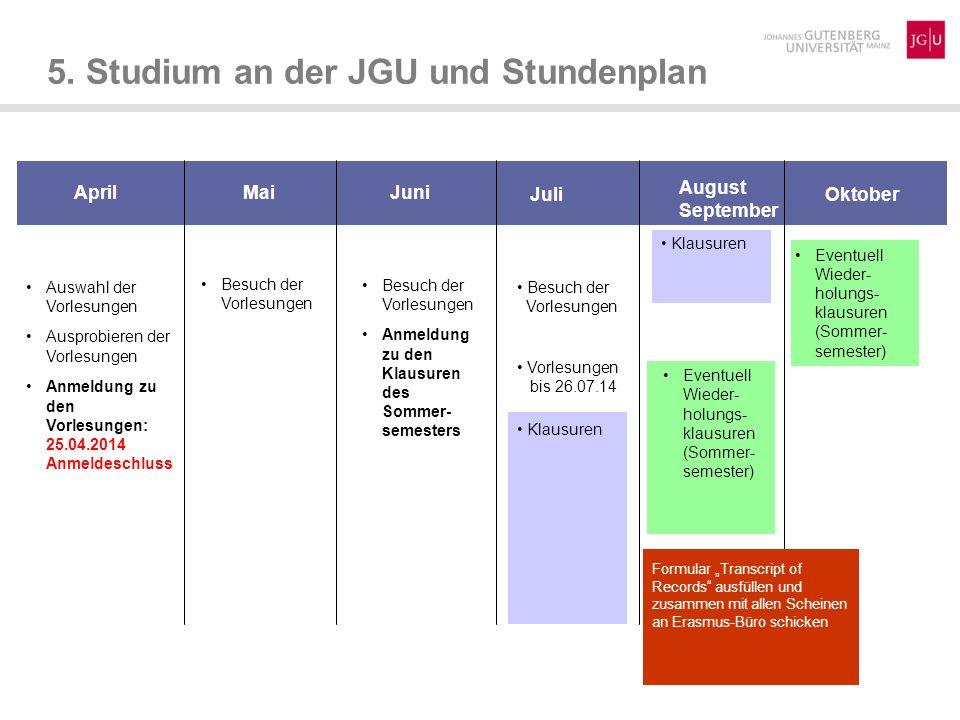 Eventuell Wieder- holungs- klausuren (Sommer- semester) 5. Studium an der JGU und Stundenplan Auswahl der Vorlesungen Ausprobieren der Vorlesungen Anm