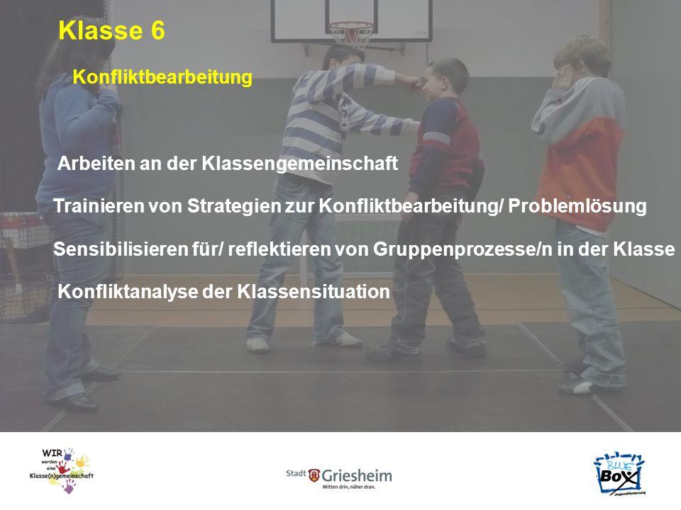 Klasse 6 Arbeiten an der Klassengemeinschaft Trainieren von Strategien zur Konfliktbearbeitung/ Problemlösung Sensibilisieren für/ reflektieren von Gruppenprozesse/n in der Klasse Konfliktbearbeitung Konfliktanalyse der Klassensituation