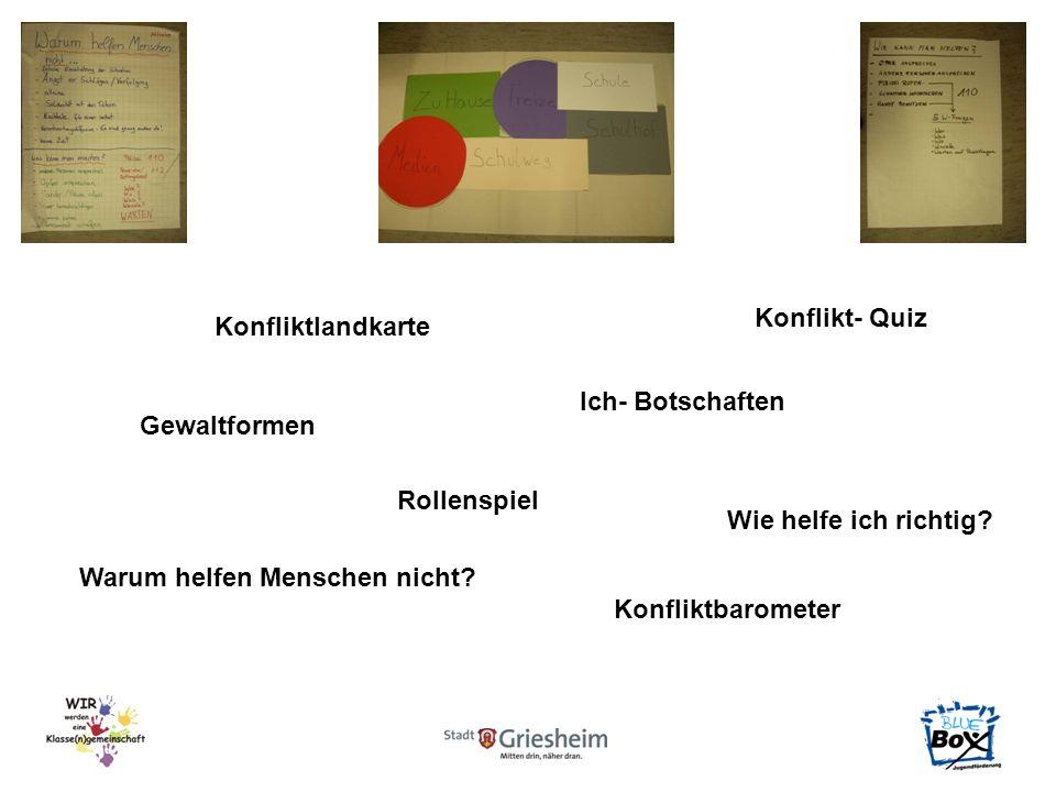 Konfliktlandkarte Ich- Botschaften Gewaltformen Rollenspiel Wie helfe ich richtig? Warum helfen Menschen nicht? Konfliktbarometer Konflikt- Quiz