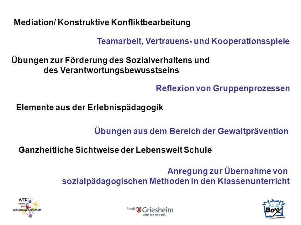 Mediation/ Konstruktive Konfliktbearbeitung Teamarbeit, Vertrauens- und Kooperationsspiele Übungen zur Förderung des Sozialverhaltens und des Verantwo