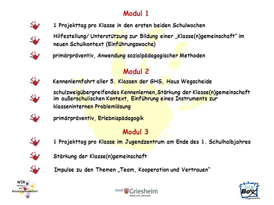 Modul 1 Hilfestellung/ Unterstützung zur Bildung einer Klasse(n)gemeinschaft im neuen Schulkontext (Einführungswoche) 1 Projekttag pro Klasse in den ersten beiden Schulwochen Modul 2 Kennenlernfahrt aller 5.