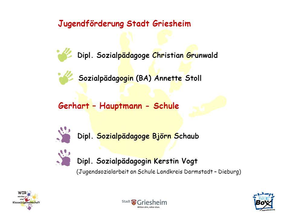Jugendförderung Stadt Griesheim Dipl. Sozialpädagoge Christian Grunwald Sozialpädagogin (BA) Annette Stoll Gerhart – Hauptmann - Schule Dipl. Sozialpä