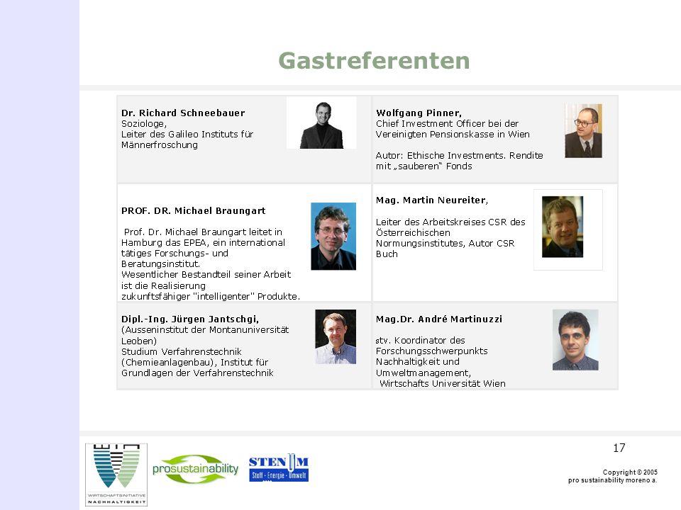 Copyright © 2005 pro sustainability moreno a. 17 Gastreferenten