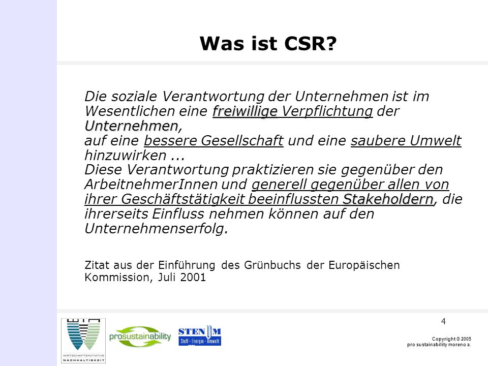 Copyright © 2005 pro sustainability moreno a. 4 Was ist CSR.