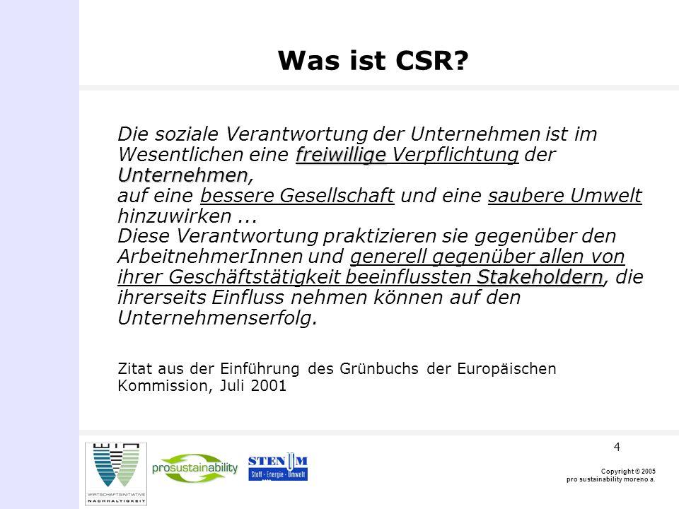 Copyright © 2005 pro sustainability moreno a.5 Was ist CSR.