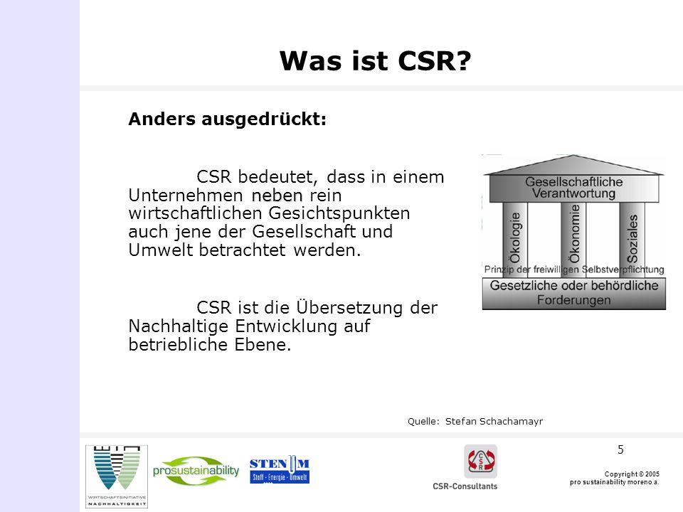 Copyright © 2005 pro sustainability moreno a.6 CSR-Dimensionen (lt.