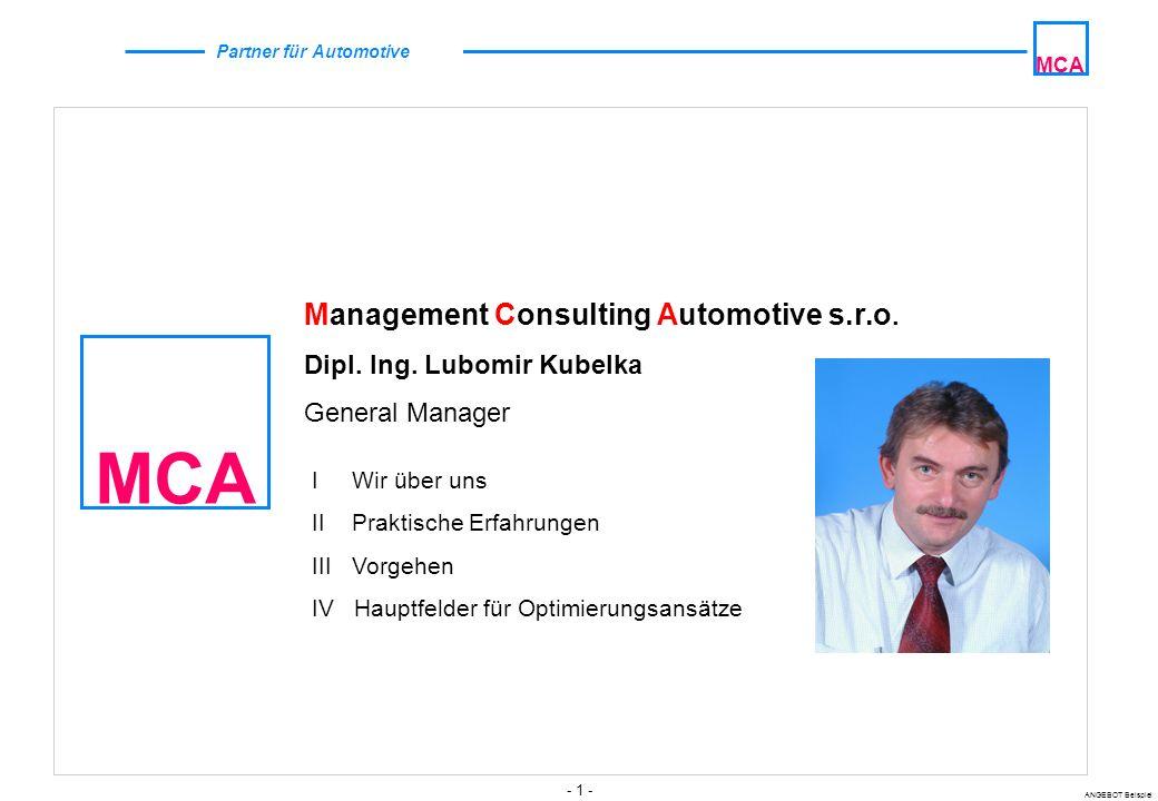 - 1 - ANGEBOT Beispiel MCA Partner für Automotive MCA Management Consulting Automotive s.r.o.