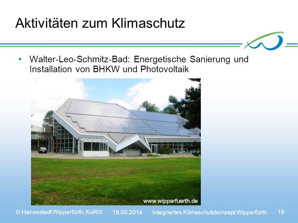 © Hansestadt Wipperfürth, KoRiS 18.05.2014 Integriertes Klimaschutzkonzept Wipperfürth 19 Aktivitäten zum Klimaschutz Walter-Leo-Schmitz-Bad: Energetische Sanierung und Installation von BHKW und Photovoltaik www.wipperfuerth.de