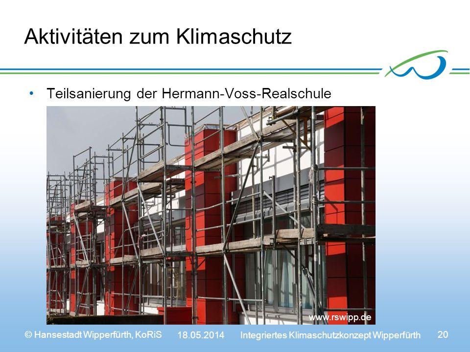 © Hansestadt Wipperfürth, KoRiS 18.05.2014 Integriertes Klimaschutzkonzept Wipperfürth 20 Aktivitäten zum Klimaschutz Teilsanierung der Hermann-Voss-Realschule www.wipperfuerth.dewww.rswipp.de
