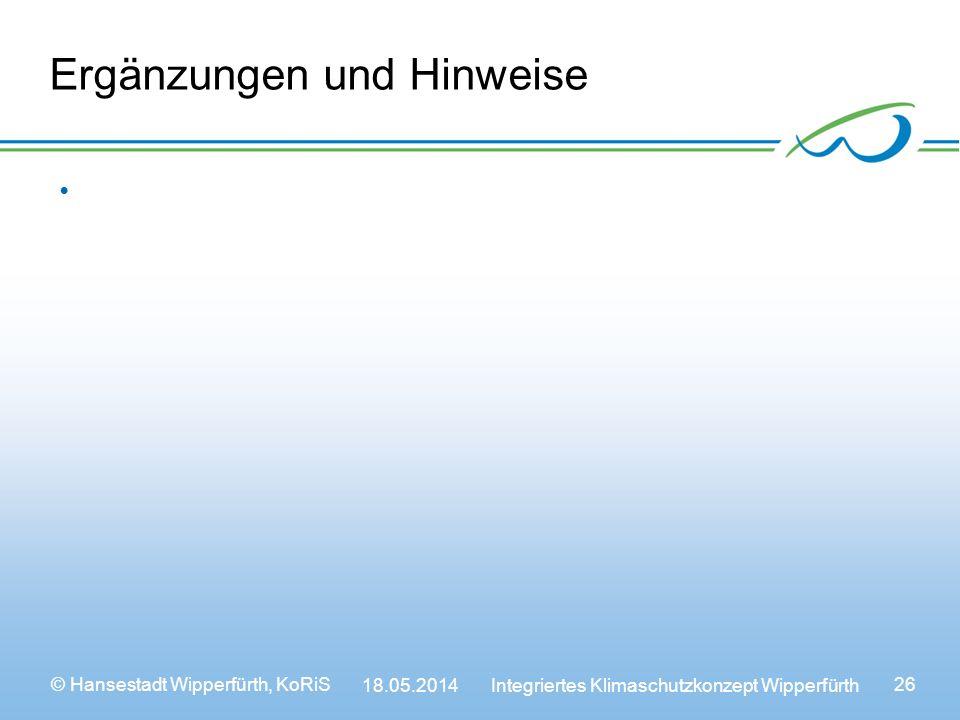 © Hansestadt Wipperfürth, KoRiS 18.05.2014 Integriertes Klimaschutzkonzept Wipperfürth 26 Ergänzungen und Hinweise