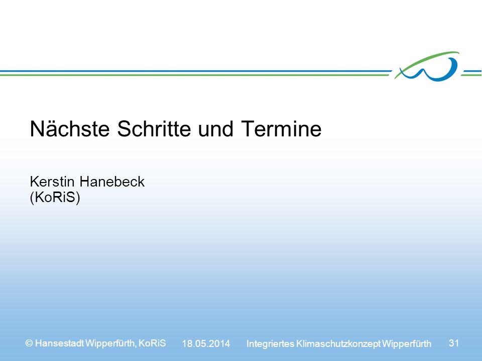 © Hansestadt Wipperfürth, KoRiS 18.05.2014 Integriertes Klimaschutzkonzept Wipperfürth 31 Nächste Schritte und Termine Kerstin Hanebeck (KoRiS)