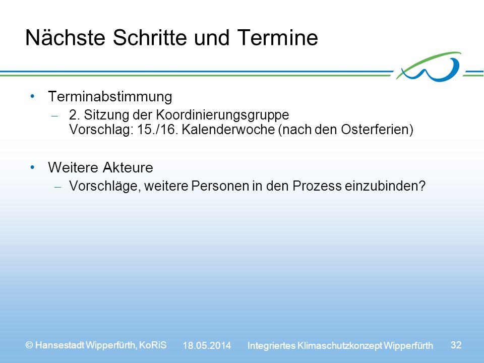© Hansestadt Wipperfürth, KoRiS 18.05.2014 Integriertes Klimaschutzkonzept Wipperfürth 32 Nächste Schritte und Termine Terminabstimmung 2.