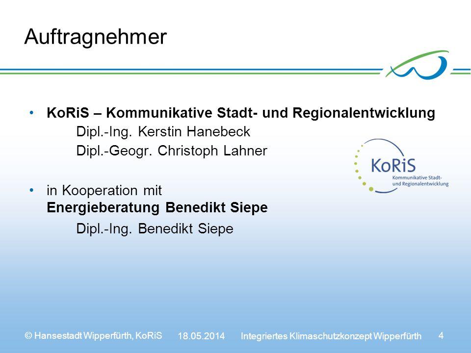 © Hansestadt Wipperfürth, KoRiS 18.05.2014 Integriertes Klimaschutzkonzept Wipperfürth 4 Auftragnehmer KoRiS – Kommunikative Stadt- und Regionalentwicklung Dipl.-Ing.