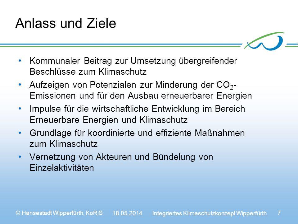 © Hansestadt Wipperfürth, KoRiS 18.05.2014 Integriertes Klimaschutzkonzept Wipperfürth 7 Anlass und Ziele Kommunaler Beitrag zur Umsetzung übergreifender Beschlüsse zum Klimaschutz Aufzeigen von Potenzialen zur Minderung der CO 2 - Emissionen und für den Ausbau erneuerbarer Energien Impulse für die wirtschaftliche Entwicklung im Bereich Erneuerbare Energien und Klimaschutz Grundlage für koordinierte und effiziente Maßnahmen zum Klimaschutz Vernetzung von Akteuren und Bündelung von Einzelaktivitäten