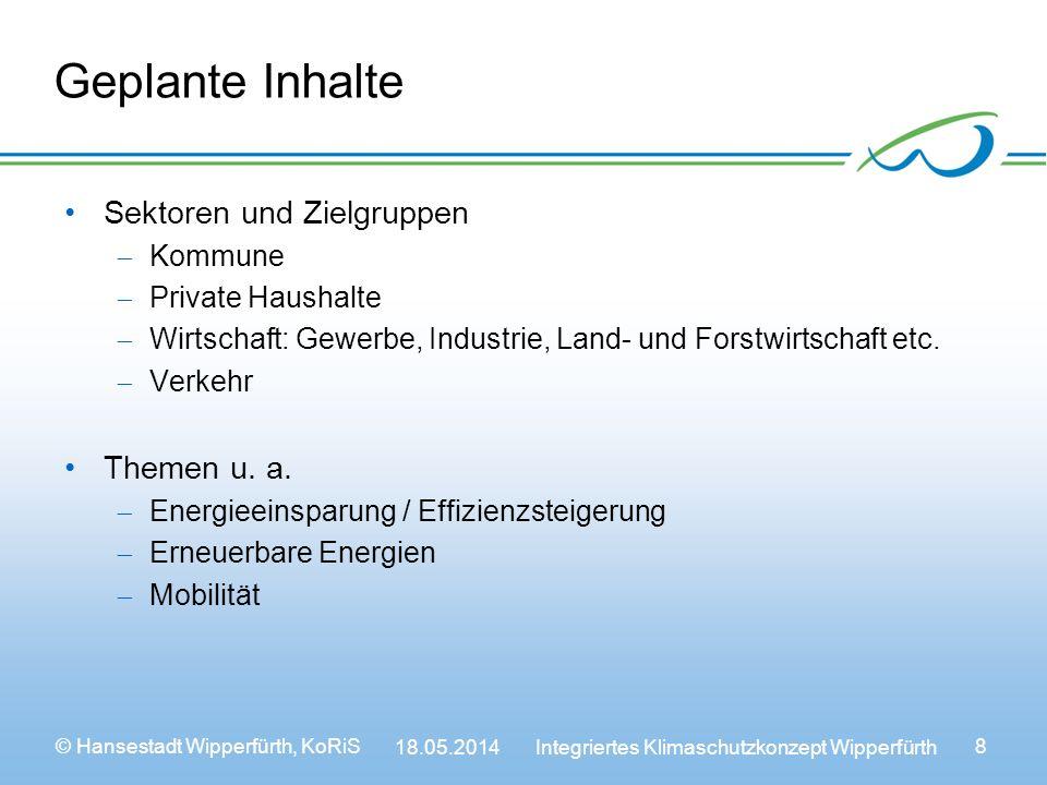 © Hansestadt Wipperfürth, KoRiS 18.05.2014 Integriertes Klimaschutzkonzept Wipperfürth 8 Geplante Inhalte Sektoren und Zielgruppen Kommune Private Haushalte Wirtschaft: Gewerbe, Industrie, Land- und Forstwirtschaft etc.