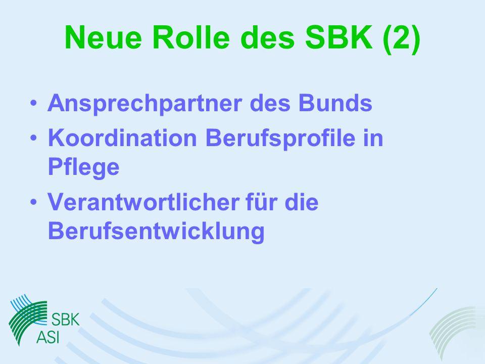 Neue Rolle des SBK (2) Ansprechpartner des Bunds Koordination Berufsprofile in Pflege Verantwortlicher für die Berufsentwicklung