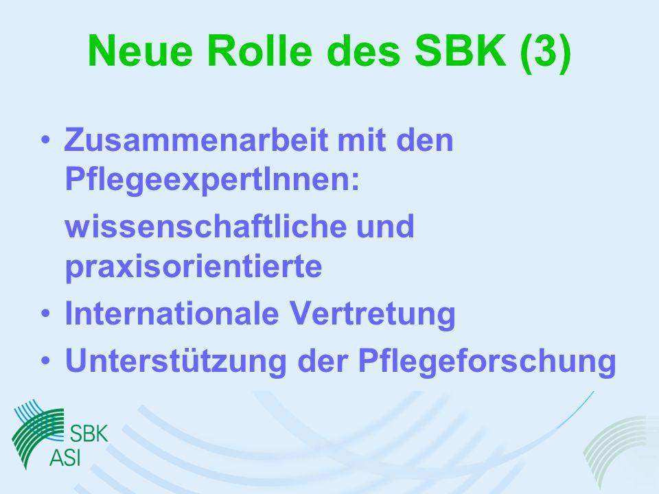 Neue Rolle des SBK (3) Zusammenarbeit mit den PflegeexpertInnen: wissenschaftliche und praxisorientierte Internationale Vertretung Unterstützung der Pflegeforschung