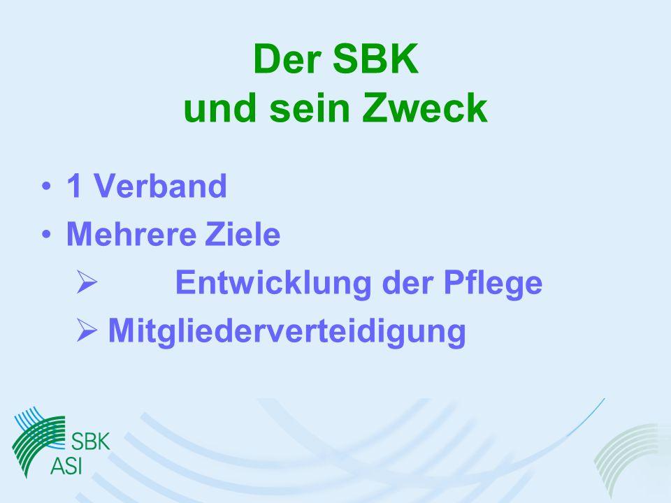 Der SBK und sein Zweck 1 Verband Mehrere Ziele Entwicklung der Pflege Mitgliederverteidigung