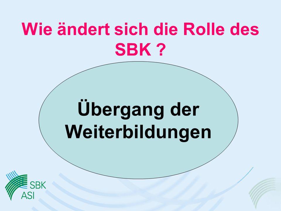 Wie ändert sich die Rolle des SBK ? Übergang der Weiterbildungen