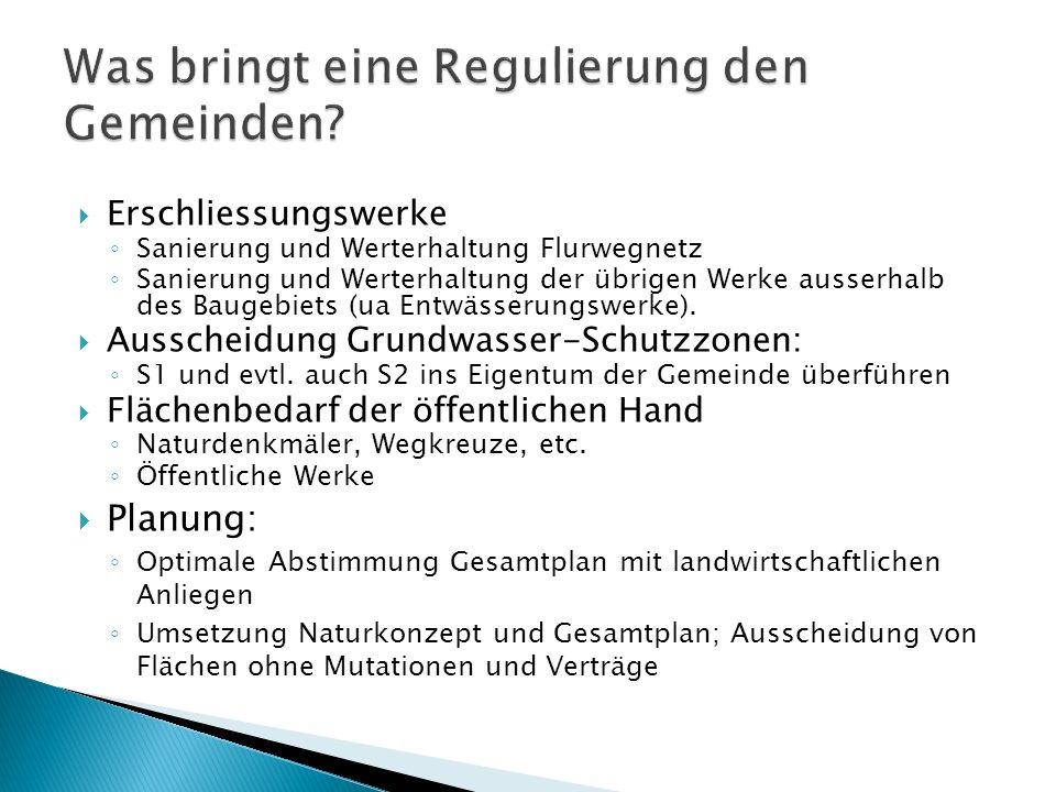 Erschliessungswerke Sanierung und Werterhaltung Flurwegnetz Sanierung und Werterhaltung der übrigen Werke ausserhalb des Baugebiets (ua Entwässerungsw