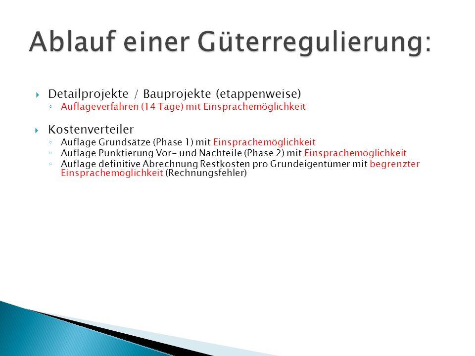 Detailprojekte / Bauprojekte (etappenweise) Auflageverfahren (14 Tage) mit Einsprachemöglichkeit Kostenverteiler Auflage Grundsätze (Phase 1) mit Eins