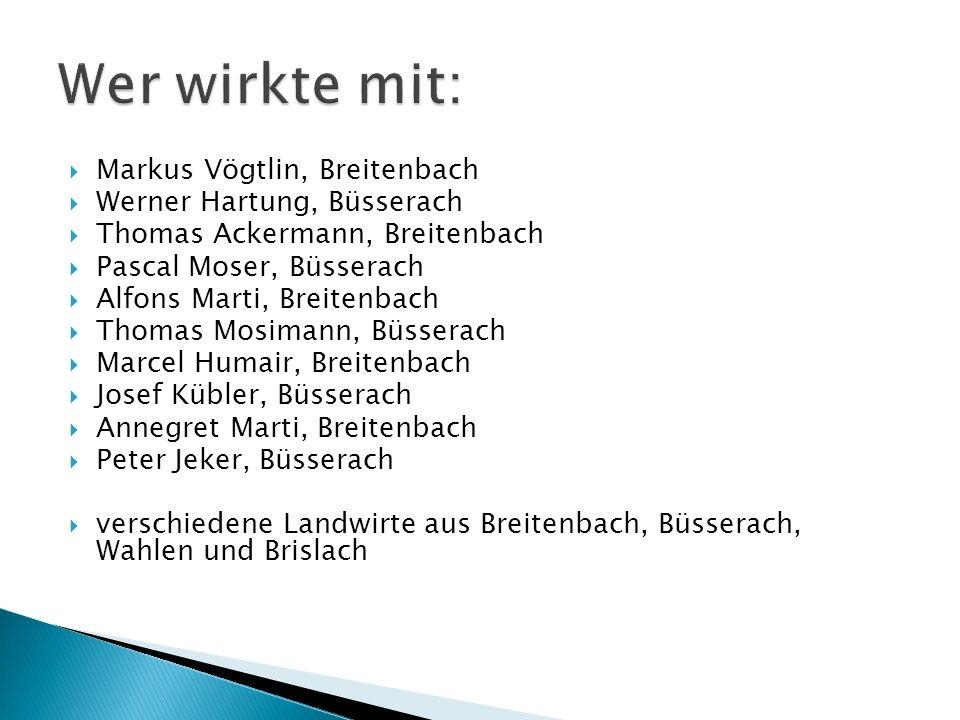 Markus Vögtlin, Breitenbach Werner Hartung, Büsserach Thomas Ackermann, Breitenbach Pascal Moser, Büsserach Alfons Marti, Breitenbach Thomas Mosimann,