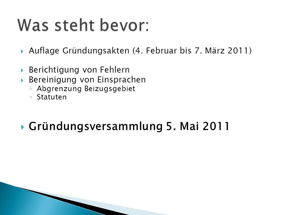 Auflage Gründungsakten (4. Februar bis 7. März 2011) Berichtigung von Fehlern Bereinigung von Einsprachen Abgrenzung Beizugsgebiet Statuten Gründungsv
