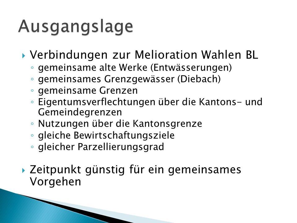 Verbindungen zur Melioration Wahlen BL gemeinsame alte Werke (Entwässerungen) gemeinsames Grenzgewässer (Diebach) gemeinsame Grenzen Eigentumsverflech