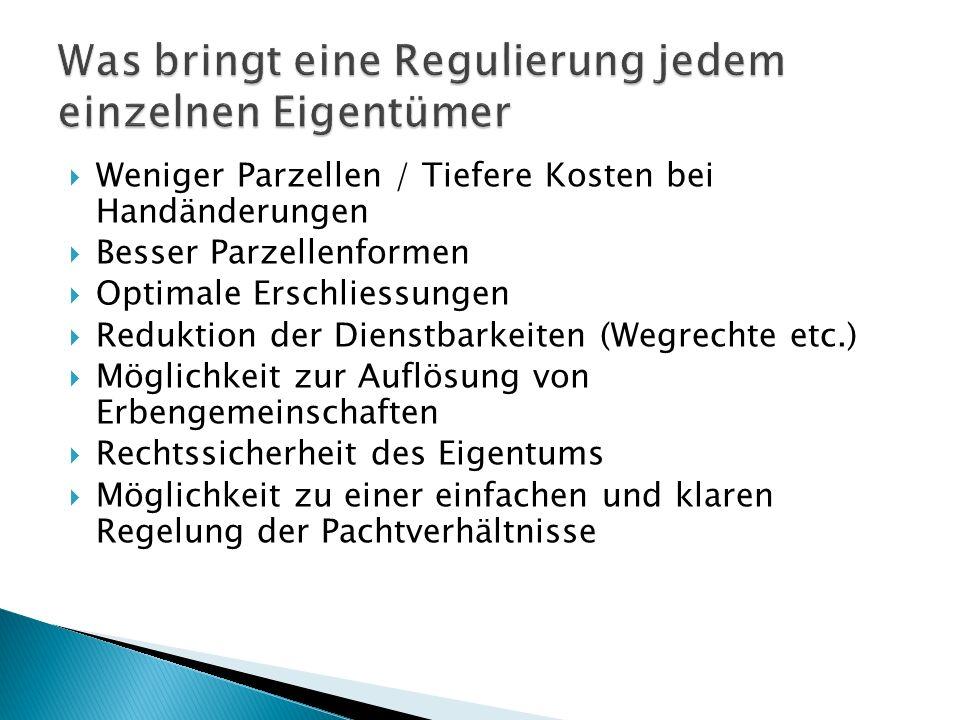 Weniger Parzellen / Tiefere Kosten bei Handänderungen Besser Parzellenformen Optimale Erschliessungen Reduktion der Dienstbarkeiten (Wegrechte etc.) M