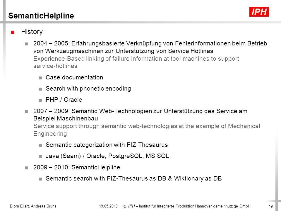 19 IPH – Institut für Integrierte Produktion Hannover gemeinnützige GmbH © 19.05.2010Björn Eilert, Andreas Bruns SemanticHelpline History 2004 – 2005: