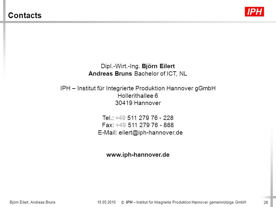 28 IPH – Institut für Integrierte Produktion Hannover gemeinnützige GmbH © 19.05.2010Björn Eilert, Andreas Bruns Contacts Dipl.-Wirt.-Ing. Björn Eiler