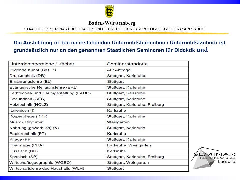 STAATLICHES SEMINAR FÜR DIDAKTIK UND LEHRERBILDUNG (BERUFLICHE SCHULEN) KARLSRUHE Baden-Württemberg Die Ausbildung in den nachstehenden Unterrichtsber