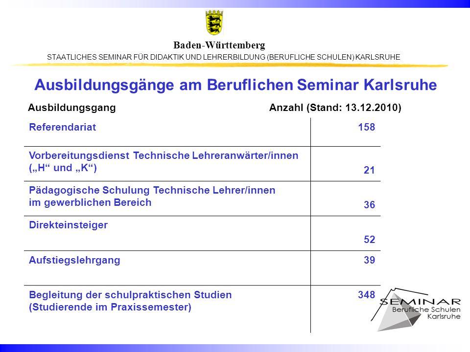 STAATLICHES SEMINAR FÜR DIDAKTIK UND LEHRERBILDUNG (BERUFLICHE SCHULEN) KARLSRUHE Baden-Württemberg Ausbildungsgänge am Beruflichen Seminar Karlsruhe