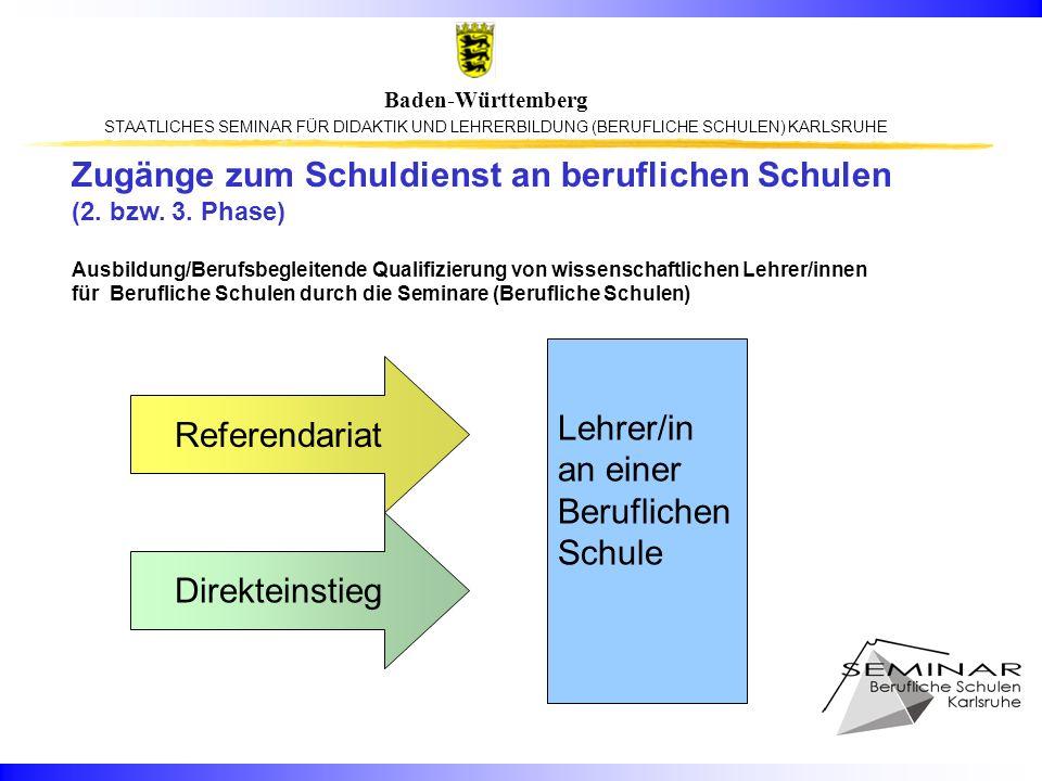 STAATLICHES SEMINAR FÜR DIDAKTIK UND LEHRERBILDUNG (BERUFLICHE SCHULEN) KARLSRUHE Baden-Württemberg Referendariat Direkteinstieg Lehrer/in an einer Be