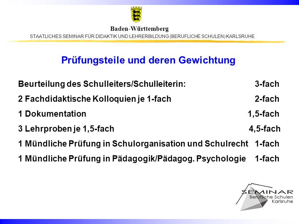STAATLICHES SEMINAR FÜR DIDAKTIK UND LEHRERBILDUNG (BERUFLICHE SCHULEN) KARLSRUHE Baden-Württemberg Prüfungsteile und deren Gewichtung Beurteilung des